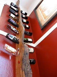 live edge wood wine rack. This would look amazing in a kitchen coupled with a live edge island,bar top!