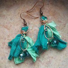 Two-Tone Teal Recycled Sari Silk Tassel Earrings Bead On ...