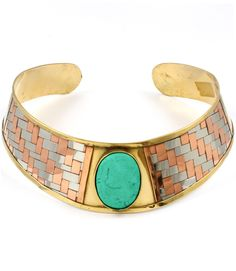 Turquoise Accent Choker, featured at Divacoutoure www.divacoutoure.com (cuff bracelet also available)