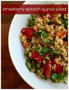 Strawberry spinach quinoa salad makes a light and refreshing side salad or main dish for any summer occasion. In season ingredients and protein-packed quinoa make the perfect combination! @MomNutrition