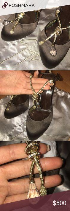 Giuseppe Zanotti Heels Brown satin. Gold hardware with swarovski crystals Giuseppe Zanotti Shoes Heels