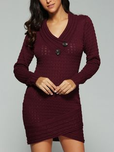 SHARE & Get it FREE | V-Neck Long Sleeve Knit Sweater DressFor Fashion Lovers only:80,000+ Items • New Arrivals Daily • Affordable Casual to Chic for Every Occasion Join Sammydress: Get YOUR $50 NOW!