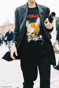 Smart pants and jacket... break it with a cool tee