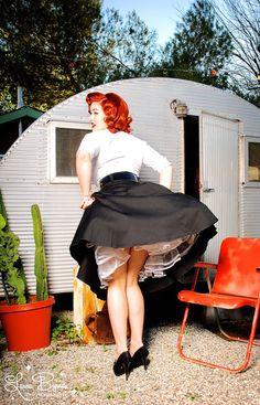 Doris Skirt Black Sateen Pinup Couture