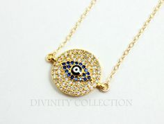 Evil Eye Necklace Gold Filled Pendant Women by divinitycollection