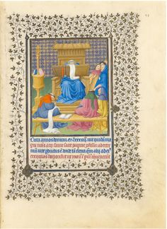 Limbourg brothers : Raymond Diocres explaining the Scriptures. Folio extracted from the Beautiful Hours of the Duke of Berry   (Metropolitan Museum of Art) 1385 -1416 リンブルク兄弟