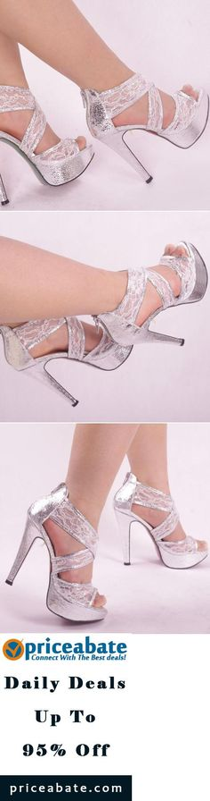#Priceabate Silver Sparkly Grace Ankle Lace Strappy Wedding Zipped Women High Heel Sandal - Buy This Item Now For Only: $18.79