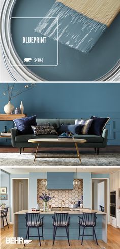 Add a pop of mid-tone blue color to the interior design of your home with the Behr 2019 Color of the Year: Blueprint. When used on living room walls and a decorative paneled baseboard, Blueprint adds a bold twist to this mid-century modern living roo Room Paint Colors, Paint Colors For Home, Wall Colors, Painted Kitchen Island, Kitchen Paint, Design Kitchen, Kitchen Islands, Kitchen Cabinets, Mid Century Modern Living Room
