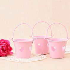 Set de 3 mini cubitos corazón para regalo - color rosa