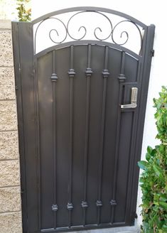 Marquez Iron Works Gallery – Wooden and Iron Fence and Entry Gates Iron Fence Gate, Fence Gate Design, Iron Garden Gates, Iron Gate Design, Metal Gates, Wrought Iron Fences, Wrought Iron Doors, Wooden Gates, Side Gates