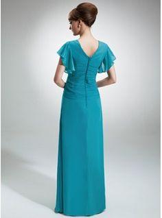 A-Line/Princess V-neck Floor-Length Cascading Ruffles Zipper Up Sleeves Short Sleeves No Jade Spring Fall General Plus Chiffon Mother of the Bride Dress
