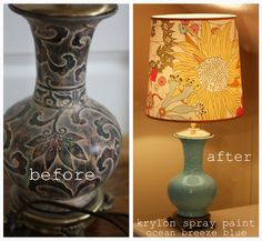 Krylon Ocean Breeze Blue spray paint looks like old Chinese pottery Craft Room, Redo Furniture, Home Decor Inspiration, Diy Inspiration, Inspiration, Blue Spray Paint, Before And After Diy, Teal Lamp, Painting Lamps