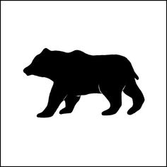 8x8 Bear Silhouette. Woodland. Pen & Ink. Black and White. Wall Art. Home Decor. Forest. Animal. Nature.