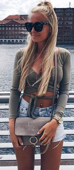 #summer ##flawless #Outfits | Grey Top + Denim                                                                             Source