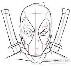 How to Draw Deadpool Easy for Beginners Superhero Sketches, Drawing Superheroes, Marvel Drawings, 3d Drawings, Drawing Sketches, Pencil Drawings, Drawing Ideas, Sketching, Spiderman Drawing