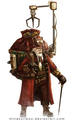 #Steampunk Santa Claus is coming to town! Illustration by Maybelle, http://mingkuriboo.deviantart.com/art/Steampunk-Santa-502565885