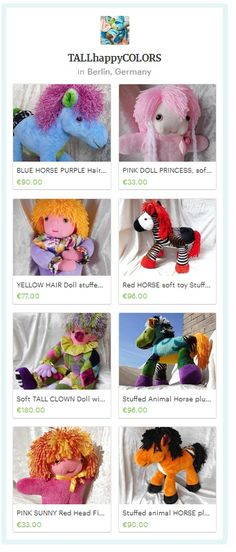 HORSES DOLLS - Handmade blue Horse with purple mane, pink soft doll with wild hair, lavender doll with yellow hair, oakapi zebra horse with red hair, rainbow huge clown doll, rainbow aura chakra horse, american quarter horse home decor - Handmade with Love by TALLhappyCOLORS #Horses #Horse #Clown #HomeDecor #Nursery #Babyshower #giftfinds #luxury