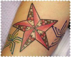 Custom cherry nautical star by Tattoo Tara