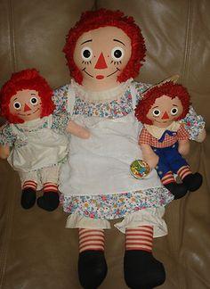 "30"" Vintage Knickerbocker Raggedy Ann with 3 Toys Yo Yo and 2 Dolls Ann and Andy | eBay"
