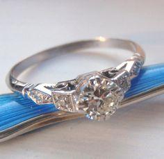 Art Deco Diamond Engagement Ring Vintage by SweetHeirloomVintage, $1840.00