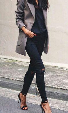 Grey jacket + black ensemble