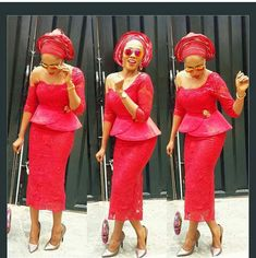 11 Glamorous Asoebi Styles Just For You. – A Million Styles Nigerian Lace Styles, African Lace Styles, African Lace Dresses, African Fashion Dresses, African Attire, African Wear, African Outfits, African Style, Lace Skirt And Blouse