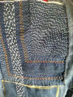 Sashiko repair to some old jeans.