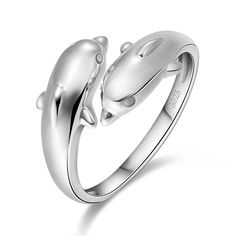 Double Dolphin Silver Plated Infinity Ring