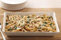 Chicken-Penne Florentine Bake recipe - What's not to love? Chicken, spinach and two kinds of cheese are baked with multi-grain pasta for a totally satisfying—and better-for-you—take on an Italian favorite.