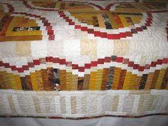 Autumn log cabin quilt detail.