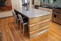 Splashy Zinc Countertops look Los Angeles Contemporary Kitchen Remodeling ideas…