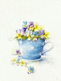 A cup of pansies - Watercolor Art Watercolor Cards, Watercolour Painting, Watercolor Flowers, Painting & Drawing, Watercolors, Illustrations, Illustration Art, Copics, Painting Inspiration