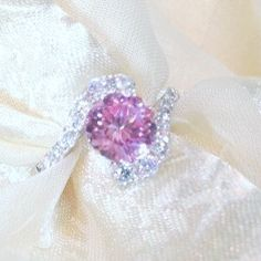 Pink Sapphire Bypass Engagement Ring in White by NorthCoastCottage