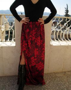 black red skirt Women's Satin flower maxi open side leg by Youshky, $51.00