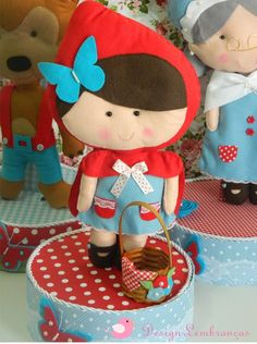 Red Riding Hood Party, Little Red Ridding Hood, Magic Party, Felt Fairy, Felt Dolls, Felt Crafts, Arts And Crafts, Diy Projects, Crafty
