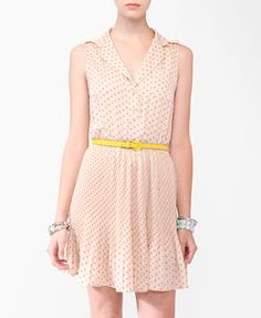 Collared Polka Dot Dress w/ Belt | FOREVER21 - 2000043829