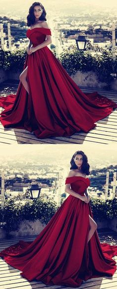 Gorgeous burgundy satin off shoulder prom gon #longpromdresses