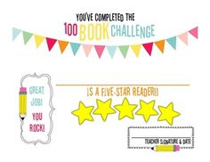 100 Book Challenge Completion Certificate {1ovakyndTeacher}