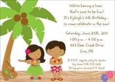 Kids Birthday Invitations-Beach Luau KBI735