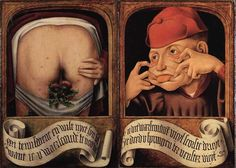 "The panel below is what one would see when today's diptych is closed.  The grinning gent holds a scroll that warns, ""Leave this panel closed, otherwise you'll be angry with me."" (closed) Upon openi…"