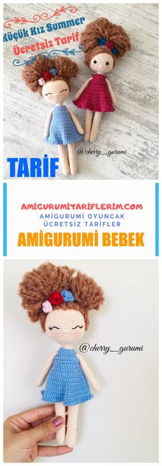 Amigurumi Baby Little Girl Summer Making - My Amigurumi Recipes - crochet patterns Air Max 360, Knitted Dolls, Crochet Dolls, Crochet Hats, Amigurumi Free, Amigurumi Toys, Quilling, Mickey Mouse, Buy Toys