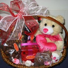 Heartshape Pillow and also Chocolate and Valentines Day Gift Baskets for Teddy Bear