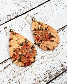 Vintage Rose Cork and Leather Earrings, Flower Leather Earrings, Floral Earrings, Shabby Chic Earrings, Flower Jewelry, Statement Earrings by whiteshedcreations on Etsy