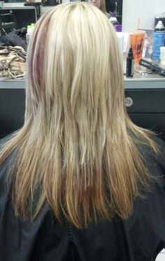 Blonde Hair with Red Low Lights!