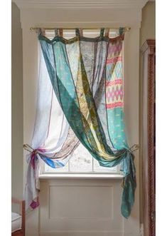Light and airy OOAK silk curtains are gorgeous and inexpensive too! Perfect for Bohemian or Eclectic decor. Silk Curtains, Panel Curtains, Hippie Curtains, Patchwork Curtains, Unique Curtains, Blue Pattern Curtains, Eclectic Curtains, Inexpensive Curtains, Scarf Curtains