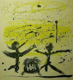 Enrico BAJ  Il cielo era giallo e due personaggi danzavano col loro cane, 1956 Tecnica: Litografia a colori Formato: Cm 50x39 Note: Firma e numerazione a matita. Certificato di autenticità sul retro di Bolaffio. Esemplare 55/60 Tiratura: Tiratura 60 Editore/Stampatore: Edizione Bolaffio