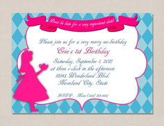 Alice in Wonderland Invitation by PerfectPrintsStudio on Etsy, $5.00
