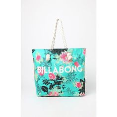Billabong Essential Beach Tote Bag ($30) ❤ liked on Polyvore featuring bags, handbags, tote bags, white tote handbags, tote purse, billabong purse, handbags totes and white purse