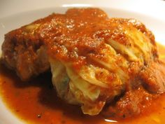 Portuguese Stuffed Cabbage Rolls - linguica, beef, onion, mushrooms and tomatoes