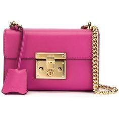 Gucci Padlock Bag ($1,230) ❤ liked on Polyvore featuring bags, handbags, shoulder bags, borse, purses, pink, handbags purses, man bag, pink shoulder handbags and mini purse